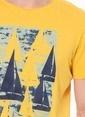 Phazz Brand Baskılı Bisiklet Yaka Tişört Sarı
